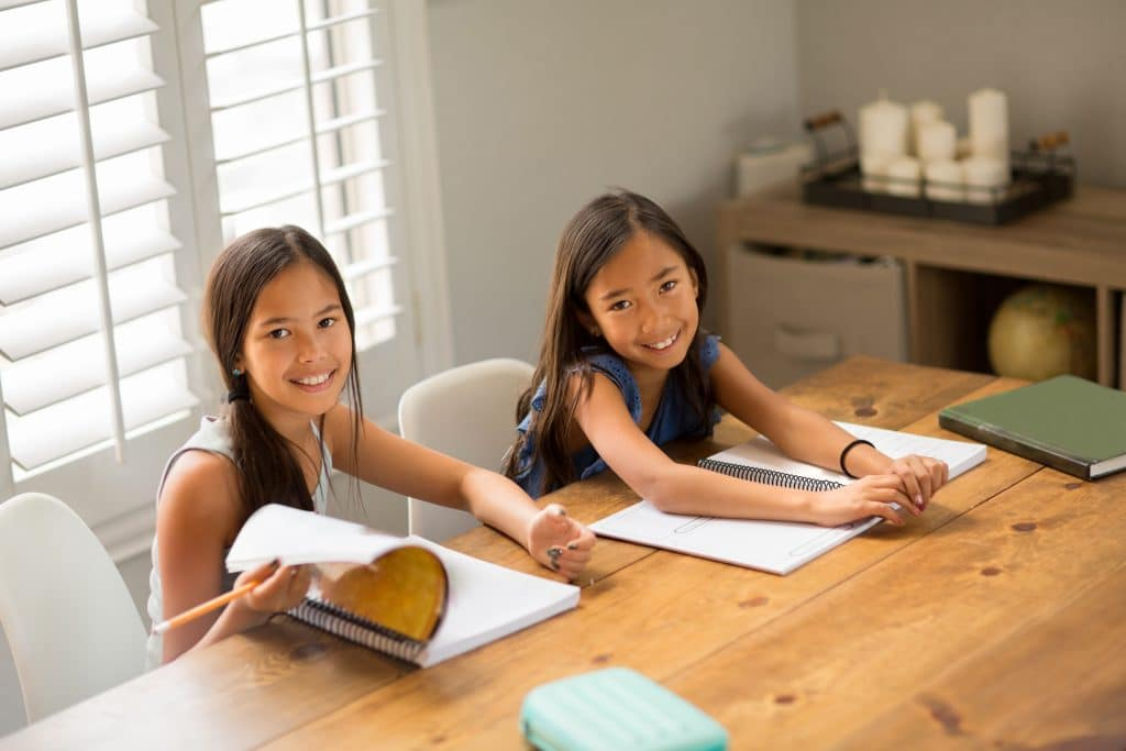 Little Girls Working On Their Homework At Home