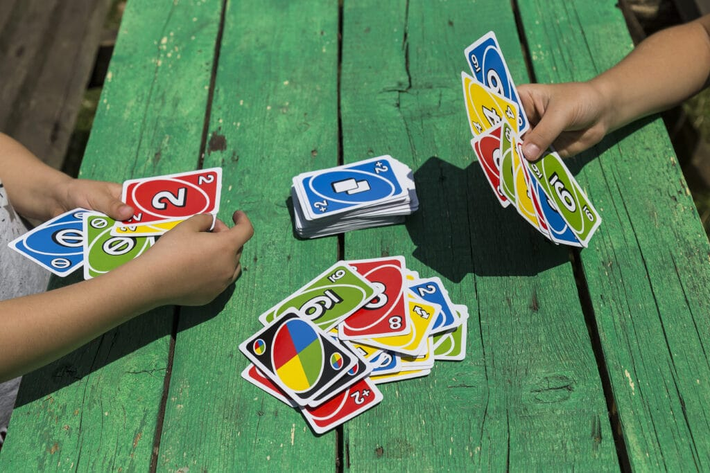 color card game for children. play with number cards in the preschool.