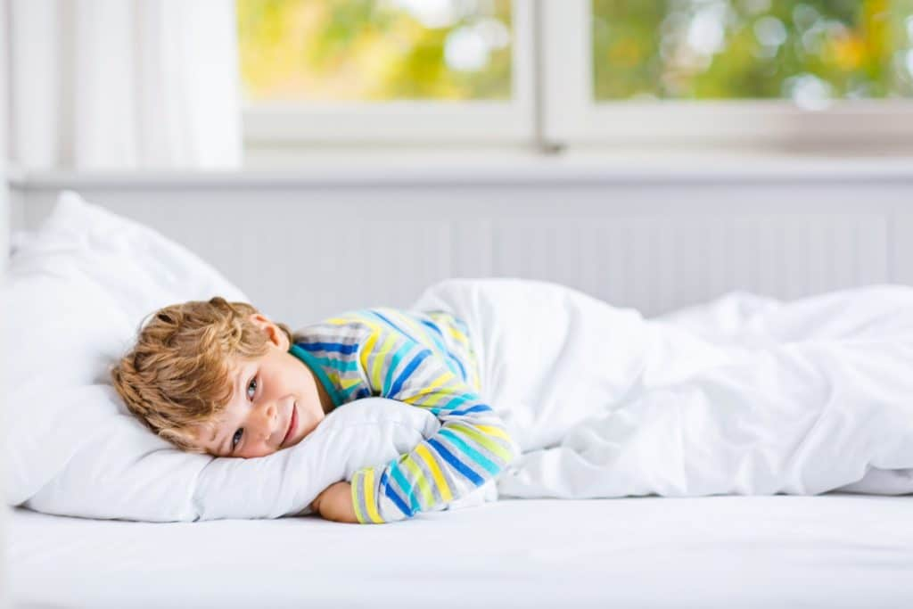 A child unable to sleep in bed